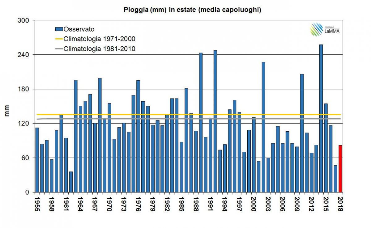 Piogge estate serie temporale 1955-2018